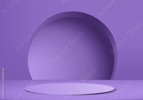 Fényképezés Minimal purple Podium and scene with 3d render vector in abstract background composition, 3d illustration mock up scene geometry shape platform forms for product display