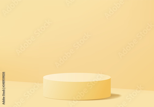 Canvastavla Minimal Podium and scene with 3d render vector in abstract yellow background composition, 3d illustration mock up scene geometry shape platform forms for product display