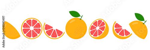 Obraz na płótnie Grapefruit fresh slices set