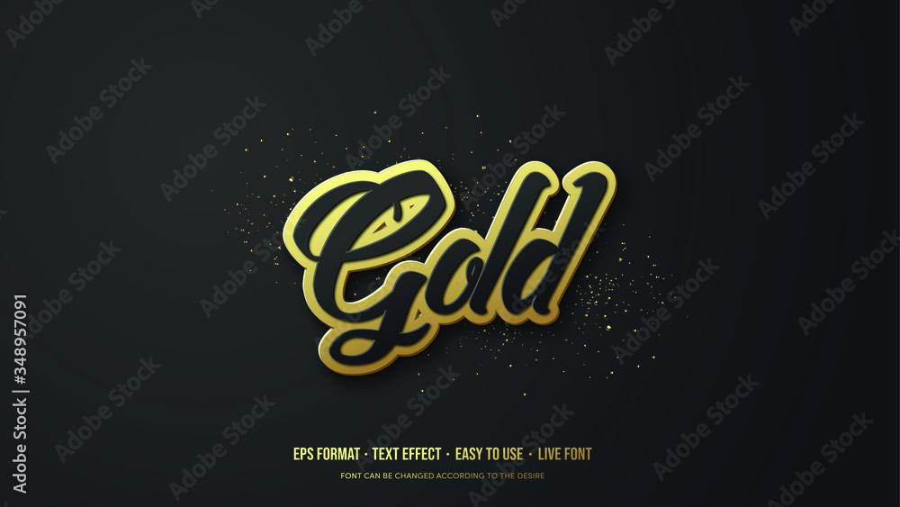 Fototapeta Modern Gold Vector Text Effect Illustration