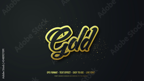 Modern Gold Vector Text Effect Illustration - 348957091