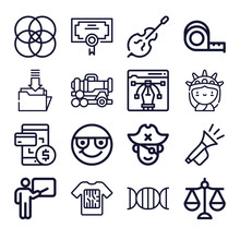 Set Of 16 Rule Lineal Icons