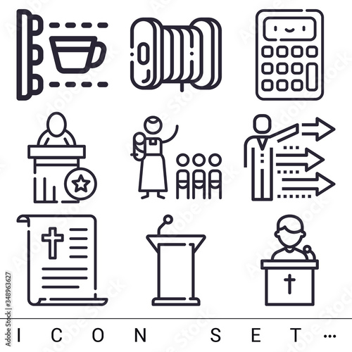 9 pack of preaching lineal web icons set Canvas-taulu