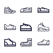 Set Of 9 Trainers Lineal Icons