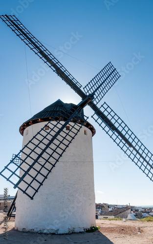 back-light of a windmill in Campo de Criptana, Ciudad Real, Spain