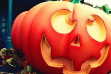 Close-up Of Jack O Lanterns During Halloween
