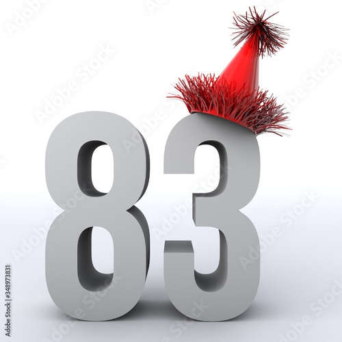 Tela 3D illustration of number 83 wearing a party hat