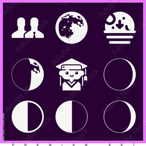 Fototapeta Set of 9 gradual filled icons