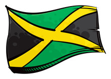 Painted Jamaica Flag Waving In Wind