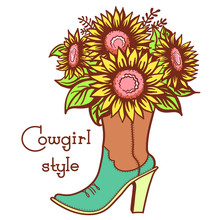 Cowgirl Boot With Floral Bouquette And Text. Ladies Cowboy Color Vector Boot Illustration With Sunflowers Isolated On White. Country Fahion