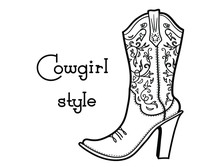 Cowgirl Boot With Floral Bouqu...