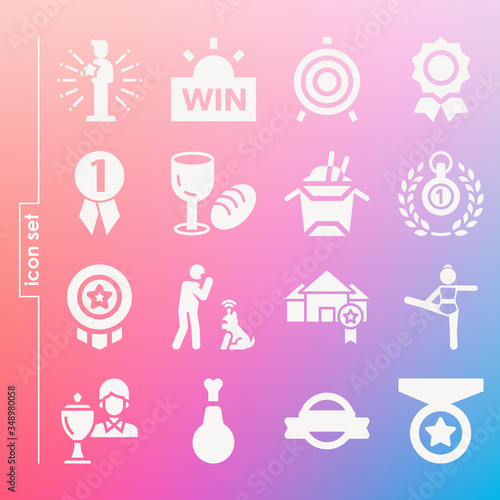 Simple set of 16 icons related to aggregate Canvas Print