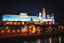 Illuminated Presidential Building And Bell Tower Of Ivan The Great At Night Against Sky