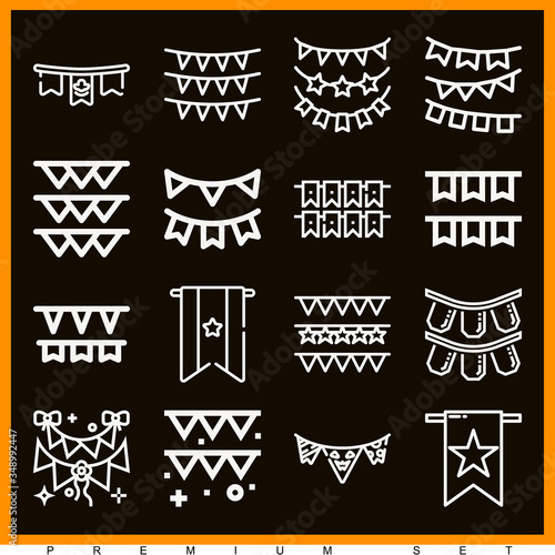 фотография Set of 16 bunting lineal icons