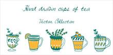 Hand Drawn Flat Set Of Tea Cup...