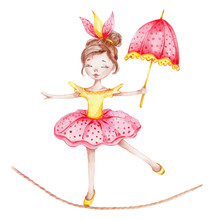 Cute Circus Girl With Umbrella...