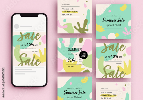 Obraz Summer Sale Social Media Post Layouts - fototapety do salonu