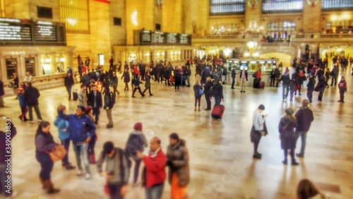 Crowd At Illuminated Grand Central Station Wallpaper Mural