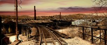 Old Railroad Track At Sunset