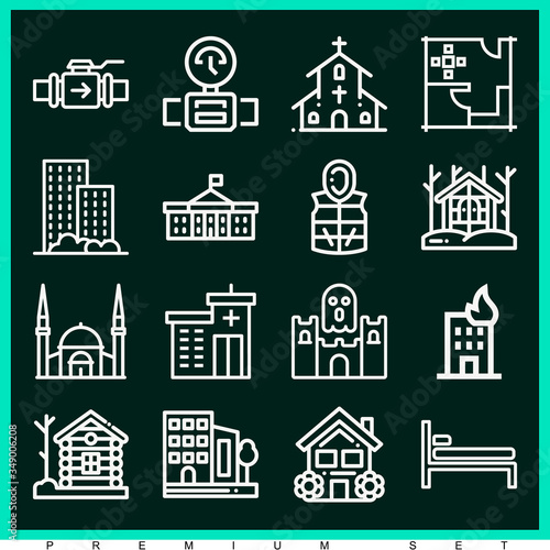 Set of 16 montreal lineal icons