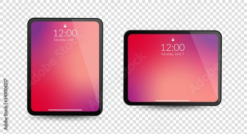 Obraz Tablet computer gadgets. Horizontal and vertical screen display. Realistic black digital device mockup. Equipment vector concept on transparent background - fototapety do salonu