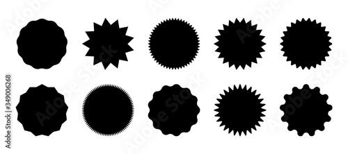 Obraz Starburst speech bubbles, bursting sticker promo badges, sunburst promotion tag. Explosion star button vector illustration. - fototapety do salonu