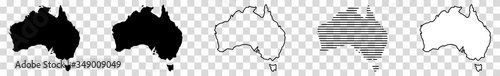 Fotografie, Obraz Australia Map Black | Australian Border | Continent | Transparent Isolated | Var