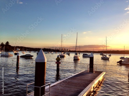 Fototapety, obrazy: View Of Pier And Harbor At Sunset