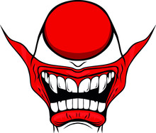 Evil Clown / Creepy Clown Or Horror Clown, Clown Horror Smiley Face. Clown Mouth, Joker Smile For Hallowen. Illustration