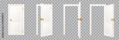 Fototapeta Closed and open classical white interior door set, isolated on transparent background