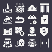 Set Of 16 Edinburgh Filled Icons