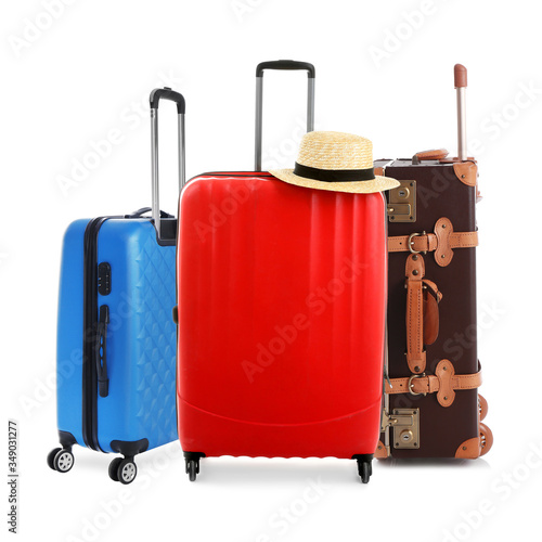 Fototapety, obrazy: Set of different stylish suitcases for travelling on white background