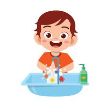 Happy Cute Little Kid Boy Wash...