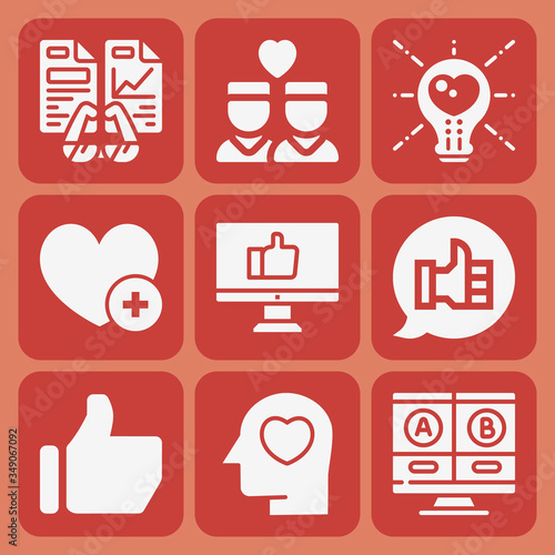 Valokuvatapetti 9 pack of comparable  filled web icons set