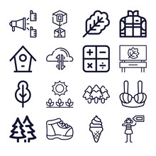 Set Of 16 Semester Lineal Icons