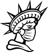 Mascot Icon Illustration Of Head Of Liberty Or Libertas, The Iconic American Symbol Of Justice And Freedom Wearing Surgical Mask To Protect Health From Pandemic Done In Black And White In Retro Style.