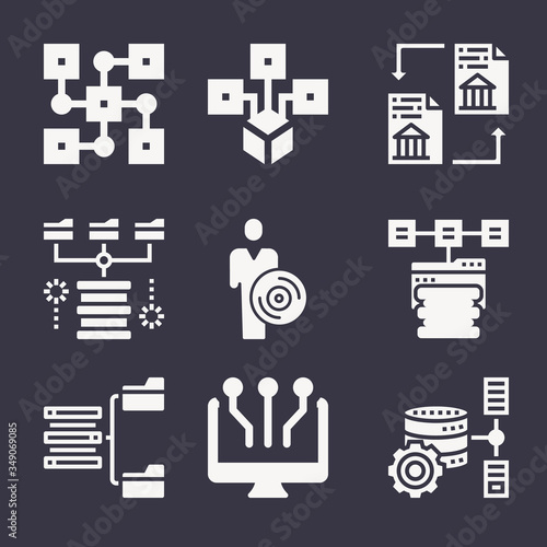 Set of 9 widespread filled icons Canvas Print