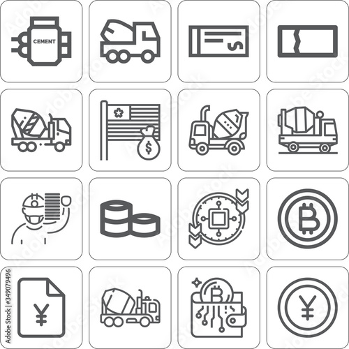 Photo Collection of 16 aggregates lineal icons