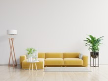 Empty Living Room With Yellow ...