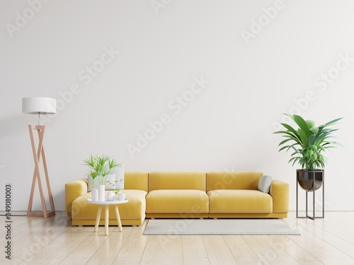 Cuadros en Lienzo Empty living room with yellow sofa, plants and table on empty white wall background