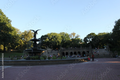 Bethesda Fountain By Historic Building At Central Park Against Clear Sky Wallpaper Mural