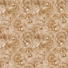 Mushroom Pattern In Brown Color