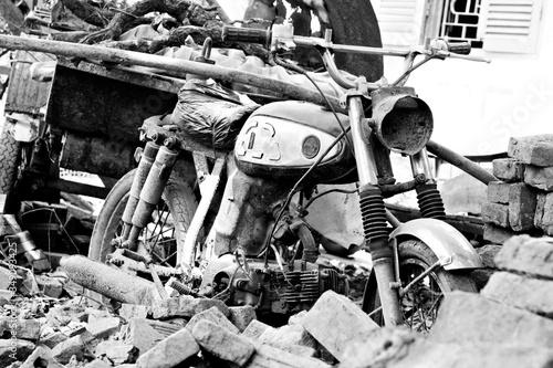 Fotografie, Obraz Old Rusty Motorcycle