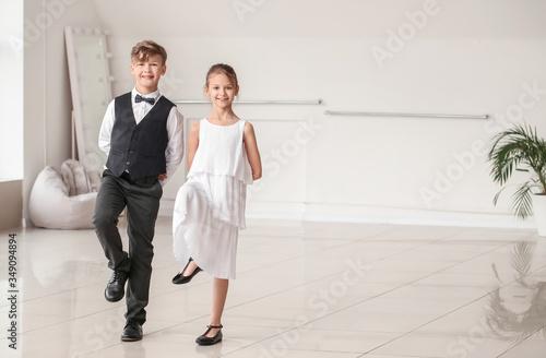 Fototapeta Cute little children dancing in studio obraz