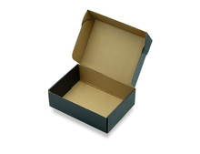 Close-up Of Open Empty Black Cardboard Box, Inside Brown On White Background With Clipping Path. Mockup Design, Carton Box Product For Packaging Shipping And Storage. Paper Corrugated Can Use Recycle.