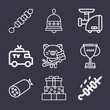 Set of 9 lamb lineal icons