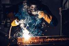Metal Welder Working With Arc ...