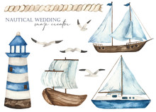 Nautical Watercolor Set With A...