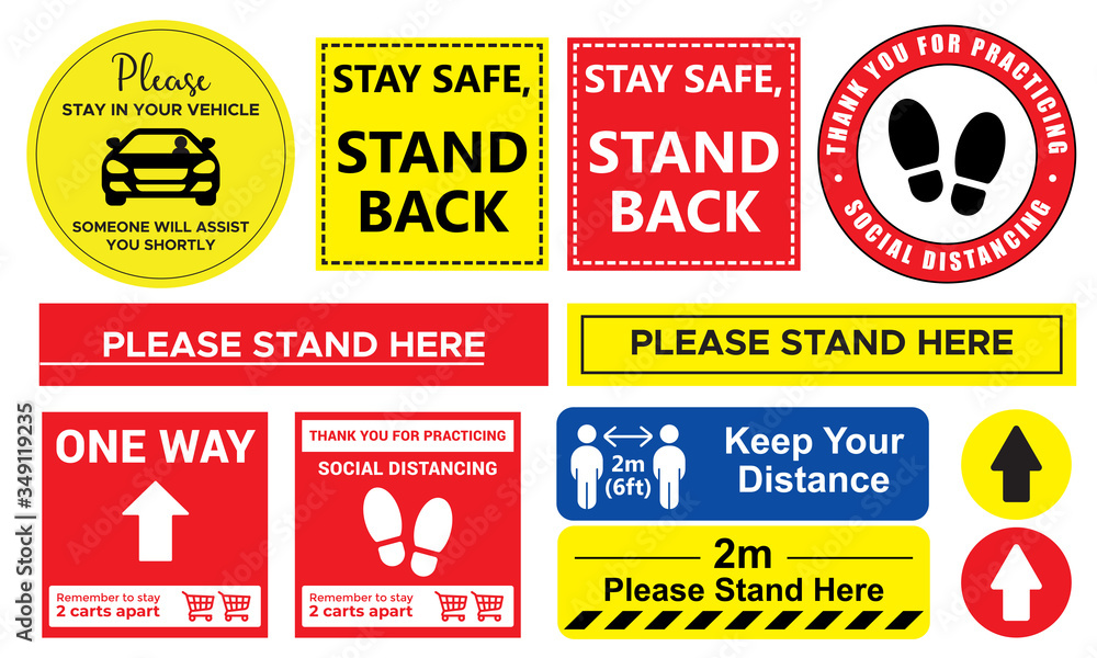 Fototapeta Collection of Social distancing graphic signs to use in the public queue in vector format