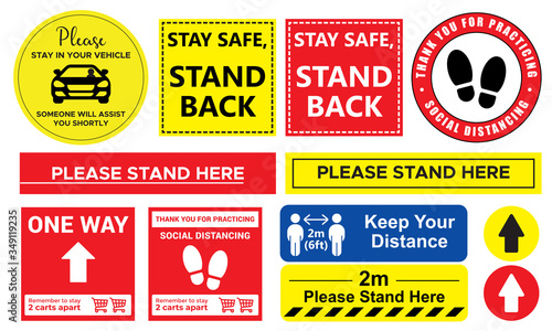 Fototapeta Collection of Social distancing graphic signs to use in the public queue in vector format obraz